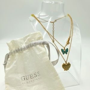 Guess Brass Tone Multi Layer Teal Butterfly Faux Locket Adjustable Necklace